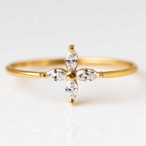 18k solid yellow gold marquise diamond engagement ring dainty cluster ring
