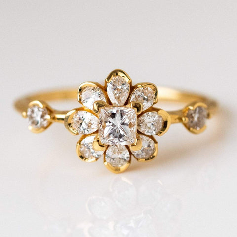 18k solid yellow gold flower diamond engagement ring unique fine jewelry