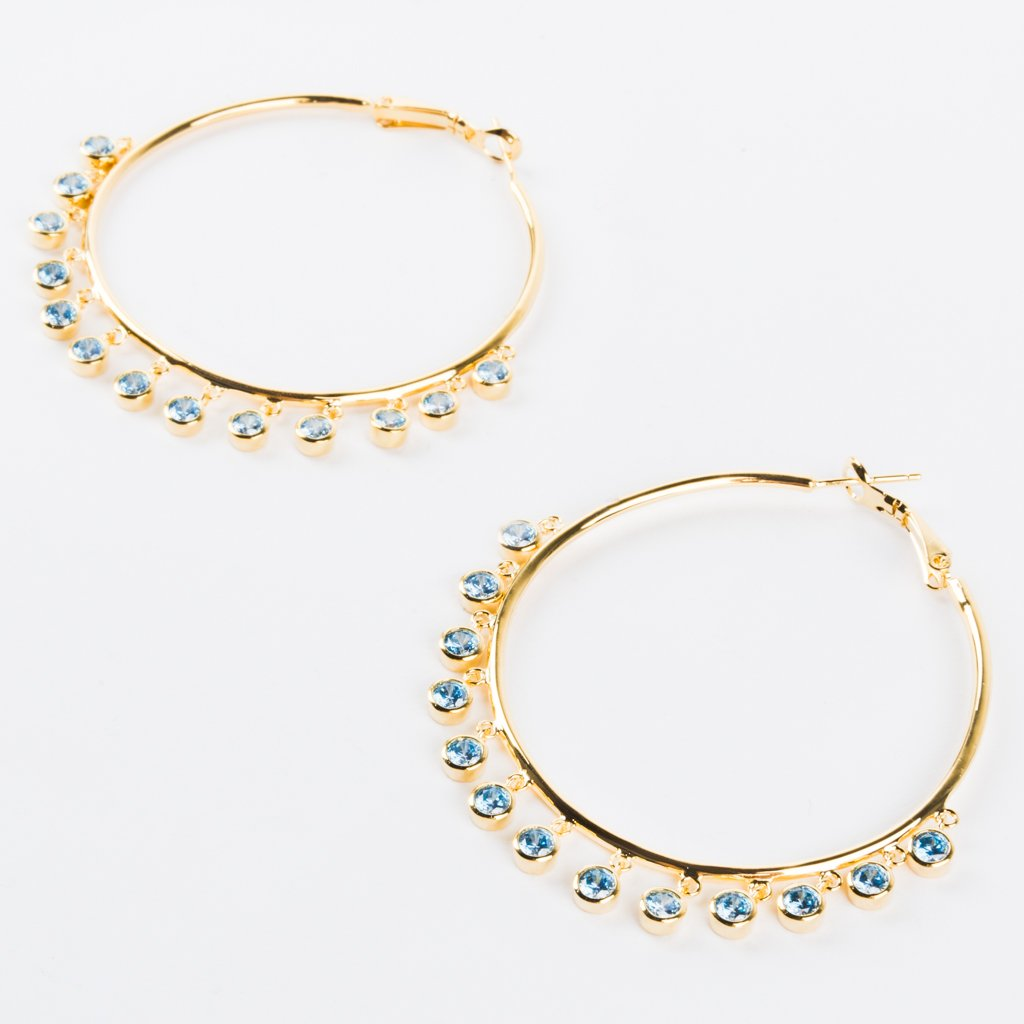 Colette Hoops in Light Blue CZ - earrings - Alex Mika local eclectic