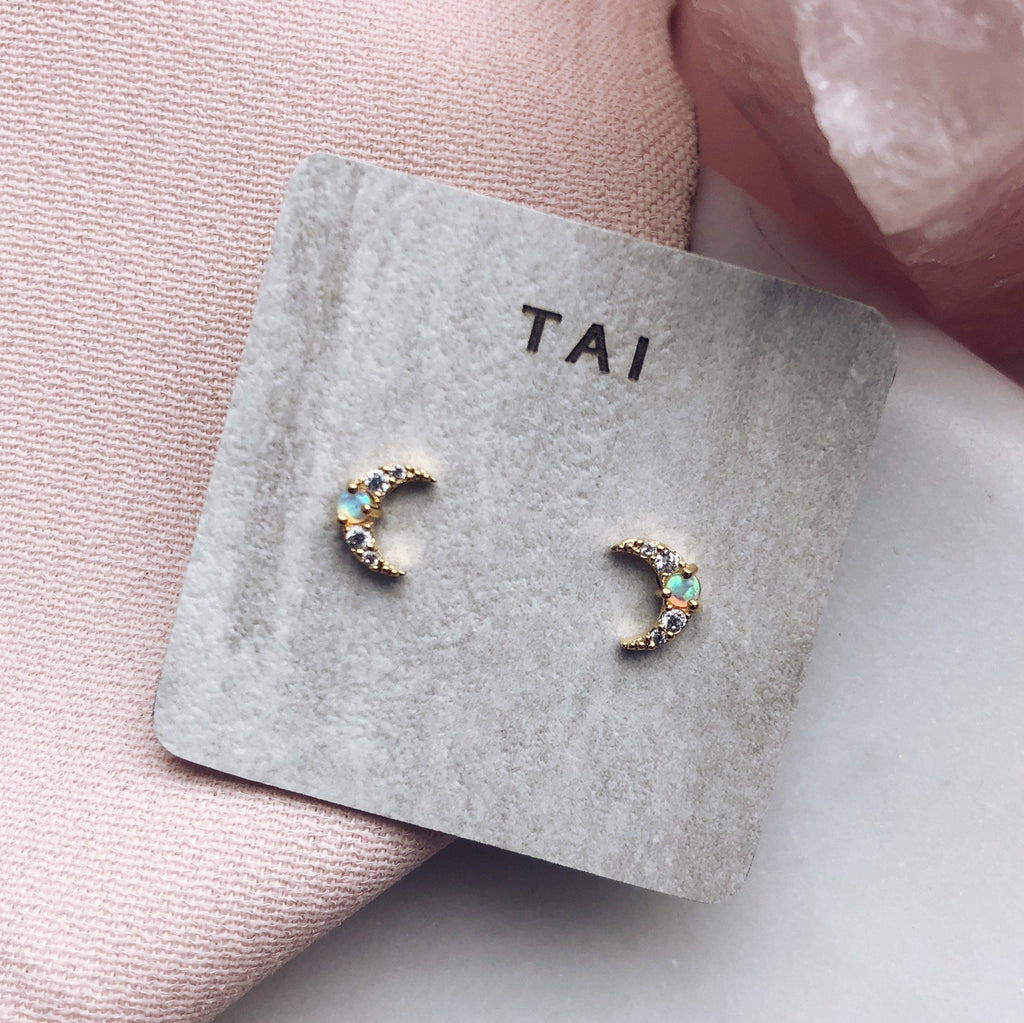 Mini Moon Opal Stud Earrings - earrings - Tai Jewelry local eclectic