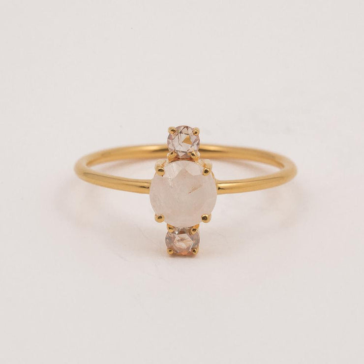 Moonstone & Diamond Top & Tail Ring - rings - Carrie Elizabeth Jewelry local eclectic