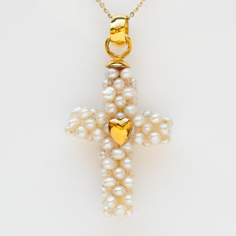 vintage organic pearl cross pendant necklace charm yellow gold solid unique jewelry