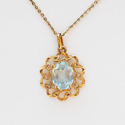 Vintage Aquamarine filigree pendant necklace charm fine jewelry