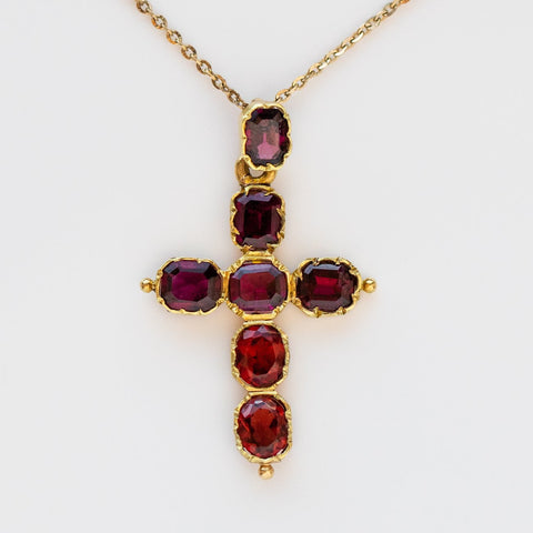 vintage garnet cross pendant necklace solid yellow gold unique jewelry