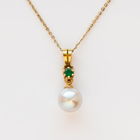 vintage emerald opalescent pearl pendant necklace yellow gold fine unique jewelry