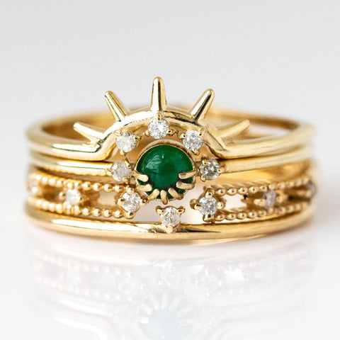 Emerson Stacking Ring Set in Emerald