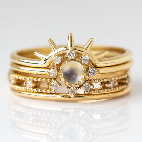 Emerson Stacking Ring Set in Moonstone