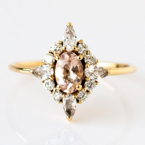 Pink Lady Ring with Morganite, White Sapphire, & Diamond