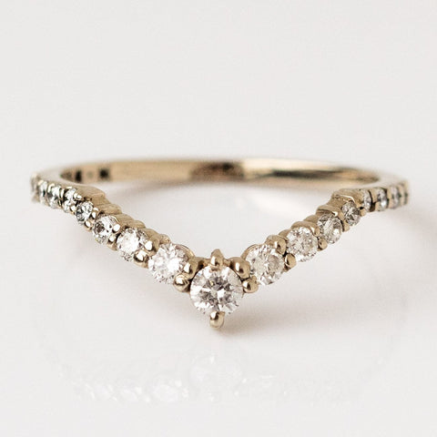 Solid Gold White Diamond Goddess Band