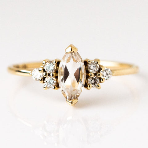 White Sapphire French Kiss Ring