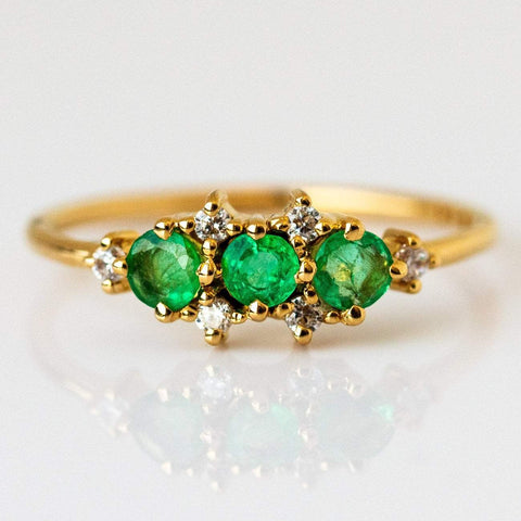 Natural Emerald Cubic Zirconia 14K Yellow Gold Plated Ring