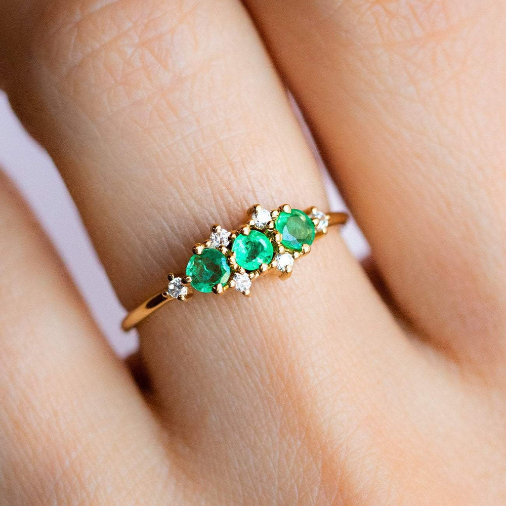 Natural Emerald Cubic Zirconia stone 14K Yellow Gold Plated Ring