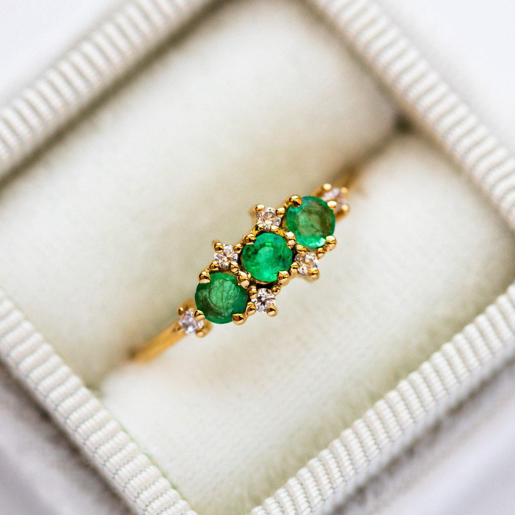 Natural Emerald Gem Cubic Zirconia Stone 14K Yellow Gold Plated Ring