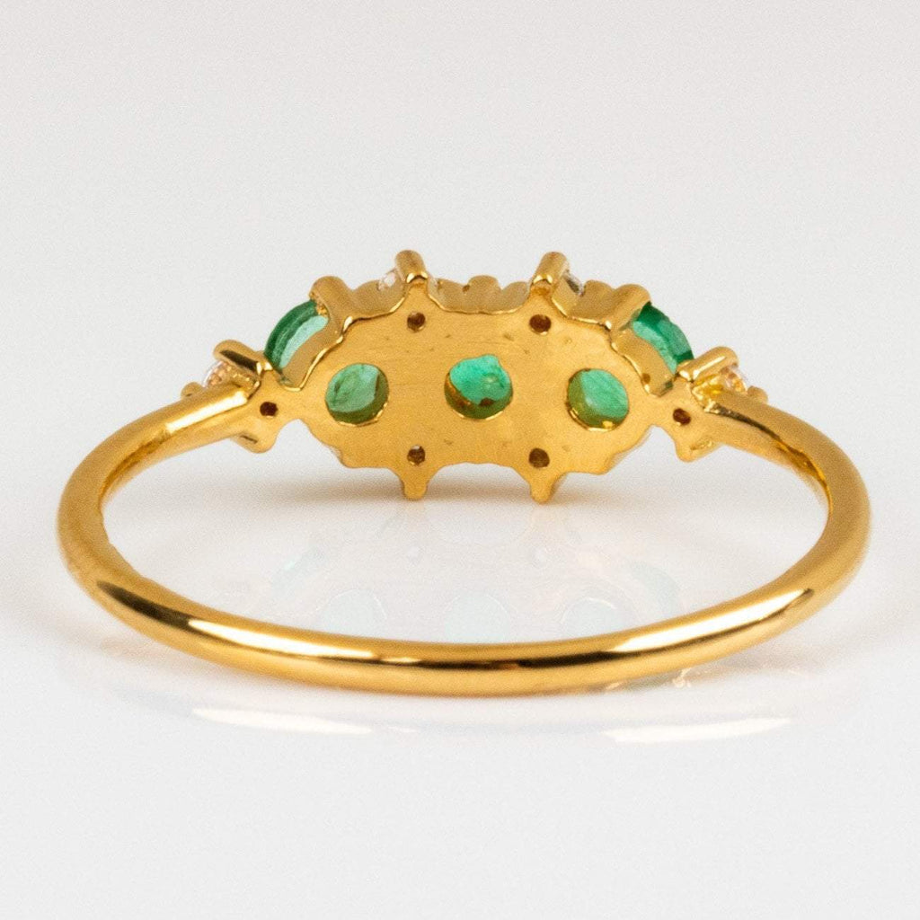 Natural Emerald Stone Cubic Zirconia Gem 14K Yellow Gold Plated Ring