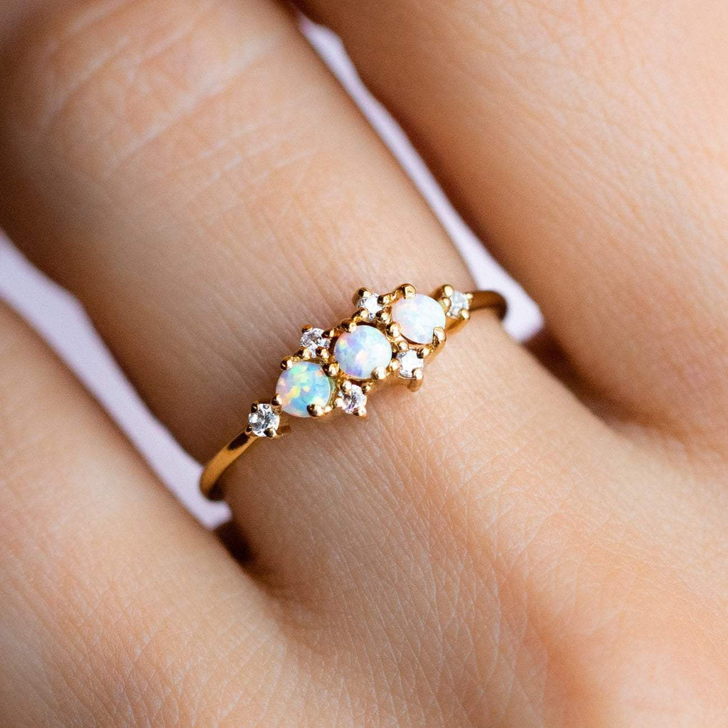 Opal Stone and Cubic Zirconia Stone 14K Yellow Gold Plated Ring