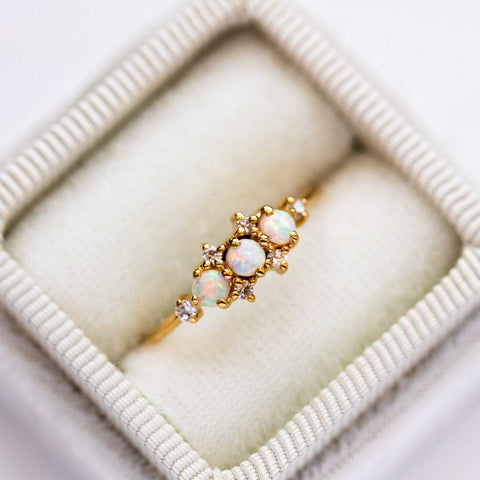Opal gem and Cubic Zirconia gem 14K Yellow Gold Plated Ring