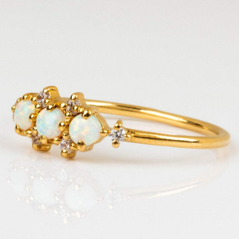 Local Eclectic Opal and Cubic Zirconia 14K Yellow Gold Plated Ring