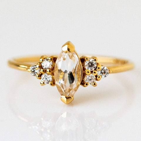 White Topaz Cubic Zirconia 14K Yellow Gold Plated Ring