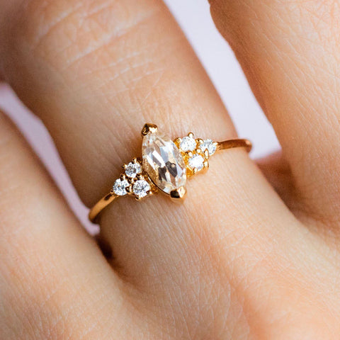 White Topaz Stone Cubic Zirconia Stone 14K Yellow Gold Plated Ring
