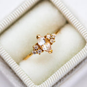 Local Eclectic White Topaz Cubic Zirconia 14K Yellow Gold Plated Ring