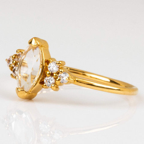Local Eclectic White Topaz Gemstone Cubic Zirconia 14K Yellow Gold Plated Ring