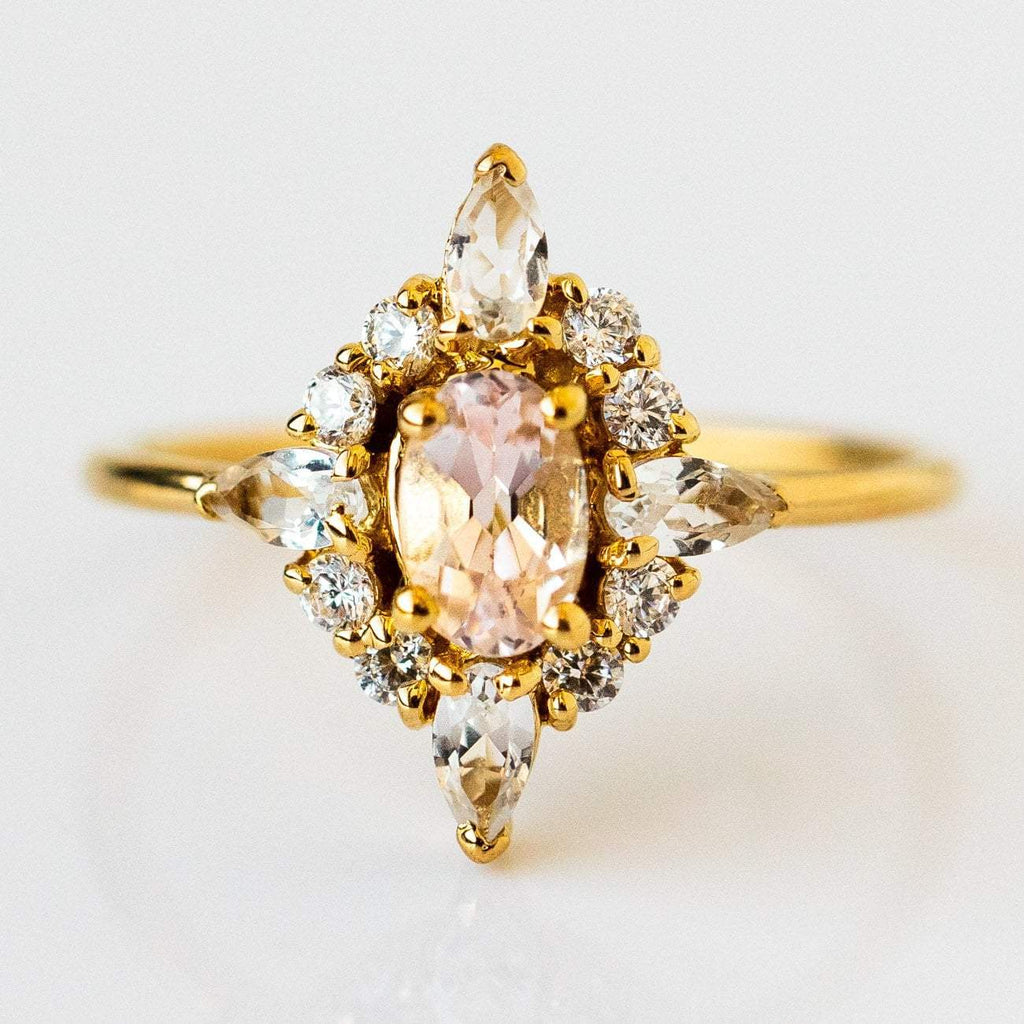 Natural Pink Quartz White Quartz Cubic Zirconia 14K Yellow Gold Plated Ring