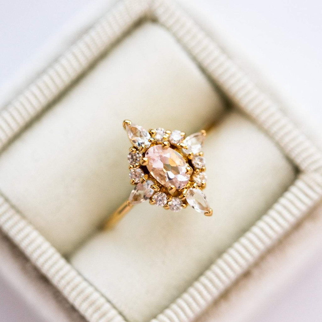 Local Eclectic Natural Pink Quartz White Quartz Cubic Zirconia Gemstone 14K Yellow Gold Plated Ring