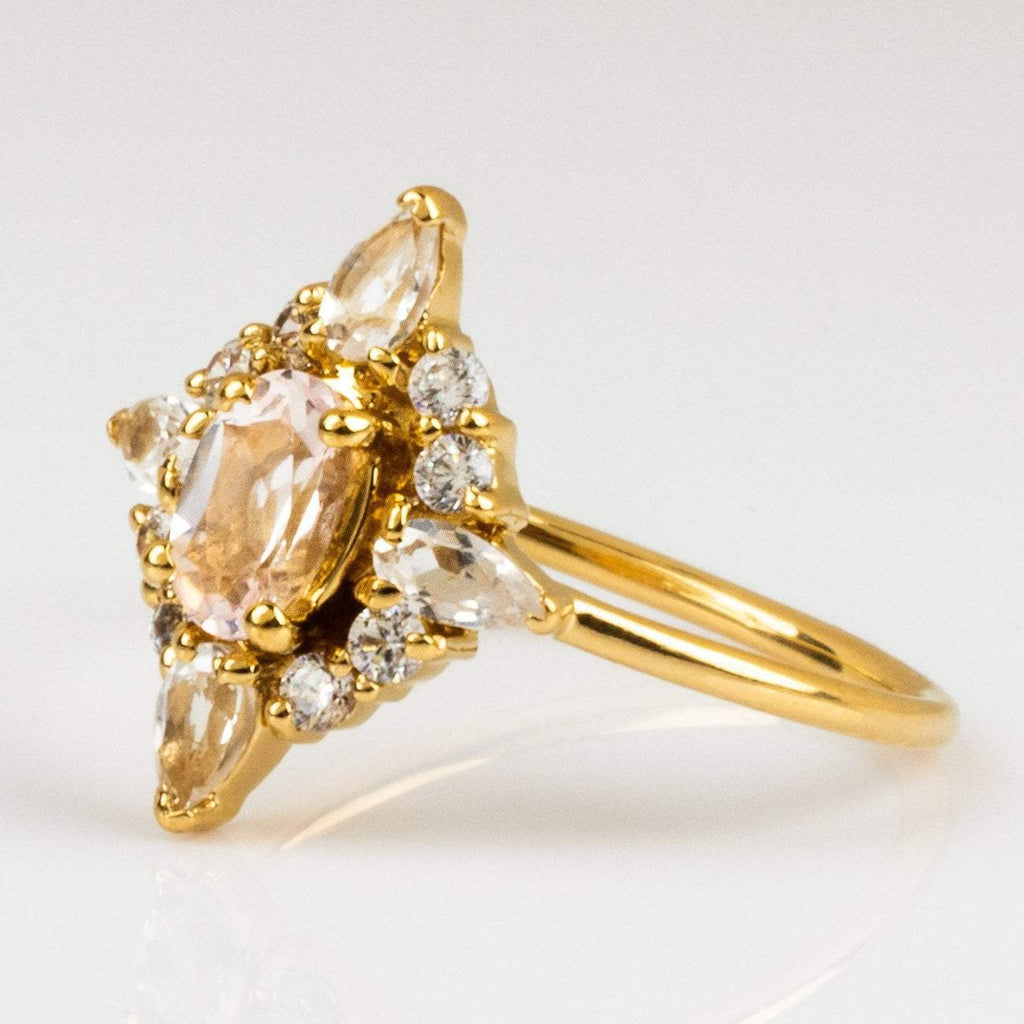 Local Eclectic Natural Pink Quartz White Quartz Cubic Zirconia stone 14K Yellow Gold Plated Ring