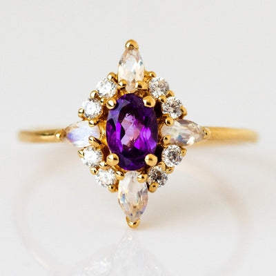 Natural Amethyst White Quartz Cubic Zirconia 14K Yellow Gold Plated Ring
