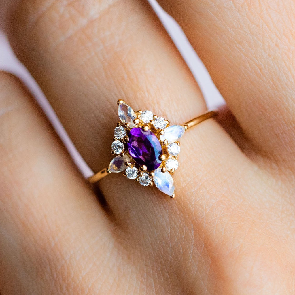 Local Eclectic Natural Amethyst White Quartz Cubic Zirconia 14K Yellow Gold Plated Ring