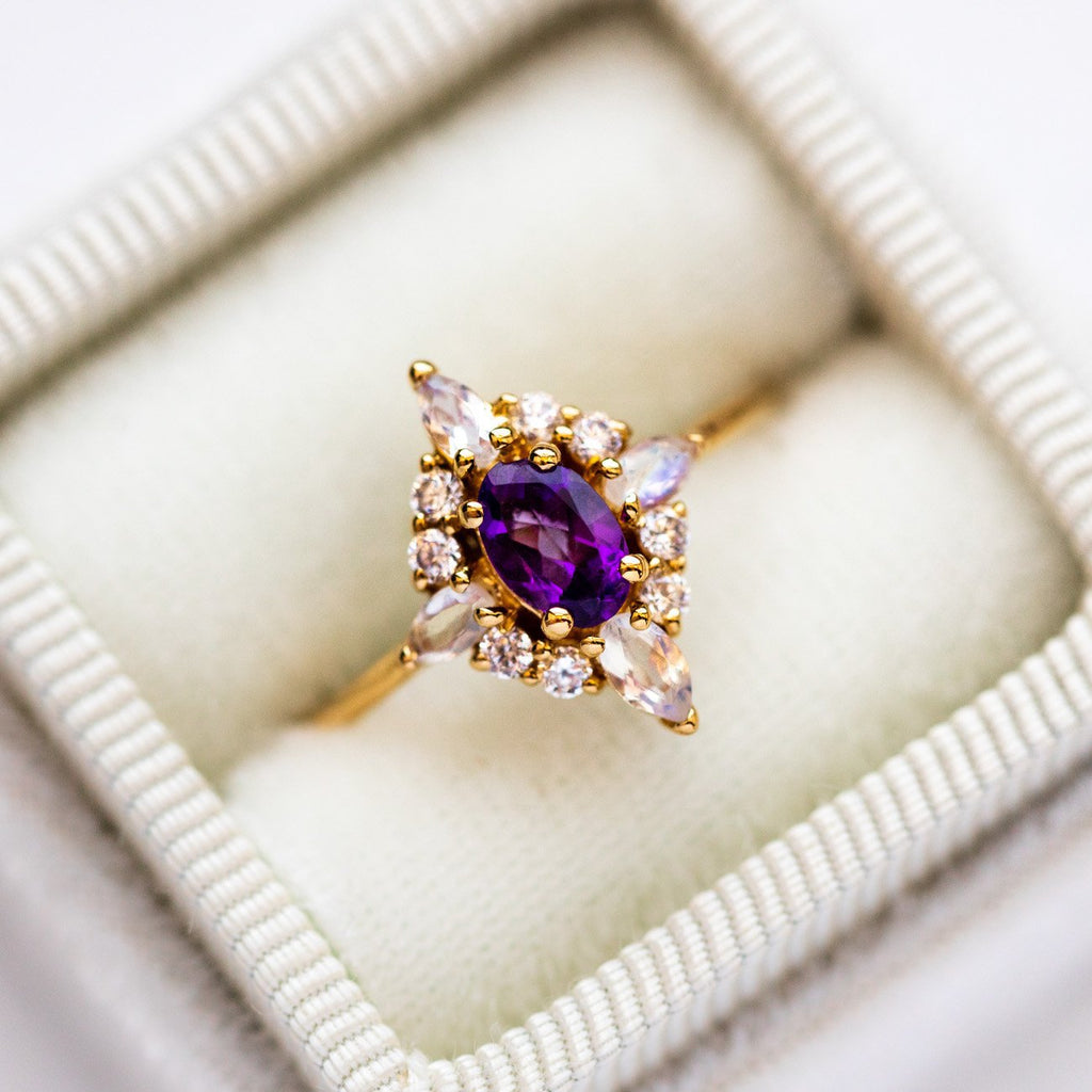 Local Eclectic Natural Amethyst White Quartz Cubic Zirconia Gemstone 14K Yellow Gold Plated Ring
