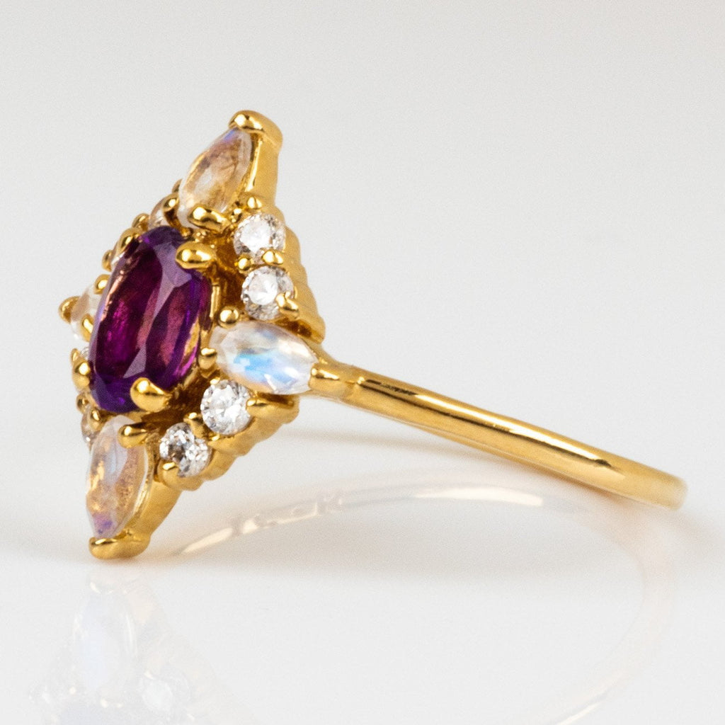 Local Eclectic Natural Amethyst White Quartz Cubic Zirconia stone 14K Yellow Gold Plated Ring