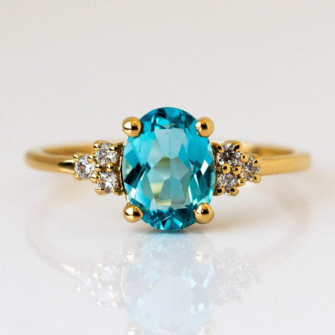 Natural Blue Topaz Cubic Zirconia 14K Yellow Gold Plated Ring