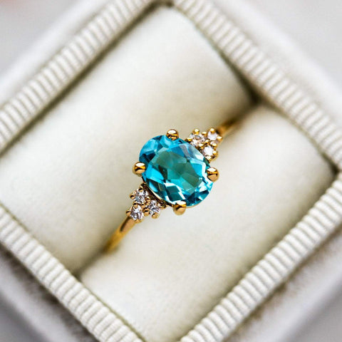 Natural Blue Topaz Gemstone Cubic Zirconia 14K Yellow Gold Plated Ring