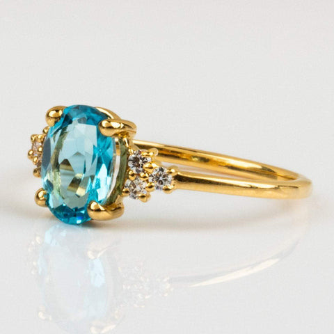 Local Eclectic Natural Blue Topaz Gem Cubic Zirconia 14K Yellow Gold Plated Ring