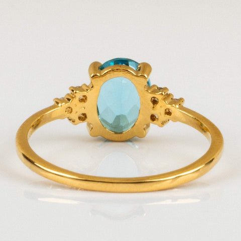 Local Eclectic Natural Blue Topaz Stone Cubic Zirconia Stone 14K Yellow Gold Plated Ring