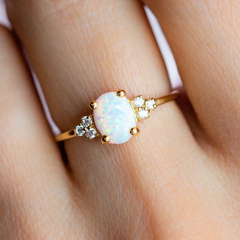 Opal Cubic Zirconia 14K Yellow Gold Plated Ring