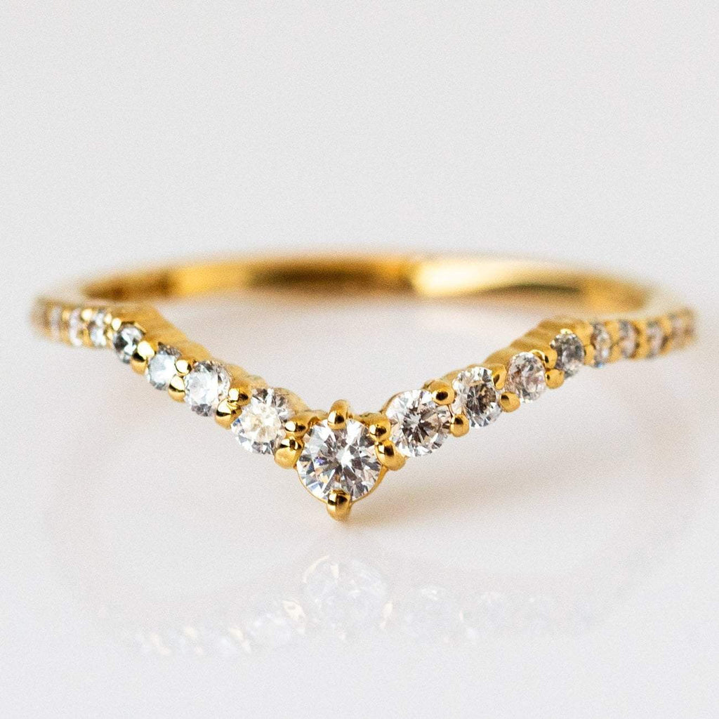 Local Eclectic Cubic Zirconia 14K Yellow Gold Plated Ring