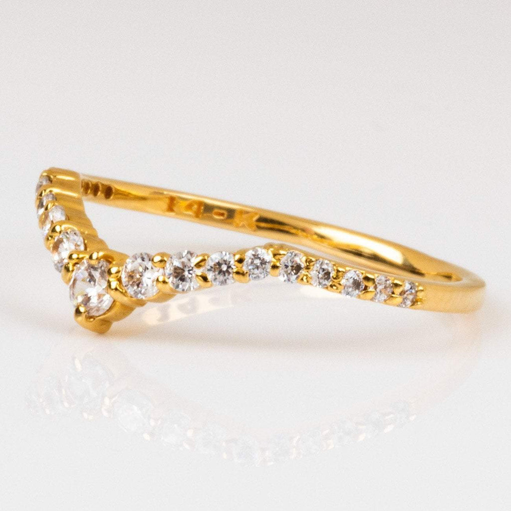Local Eclectic Cubic Zirconia gemstone 14K Yellow Gold Plated Ring