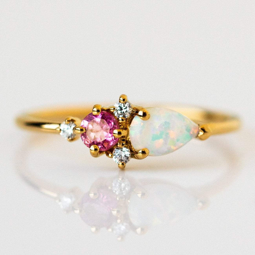 Natural Pink Quartz, Opal and Cubic Zirconia 14K Yellow Gold Plated Ring