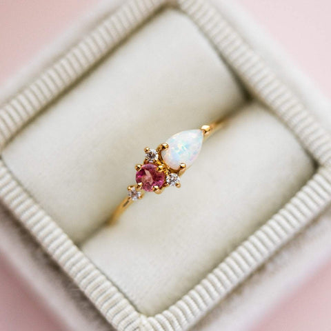 Local Eclectic Natural Pink Quartz, Opal and Cubic Zirconia 14K Yellow Gold Plated Ring