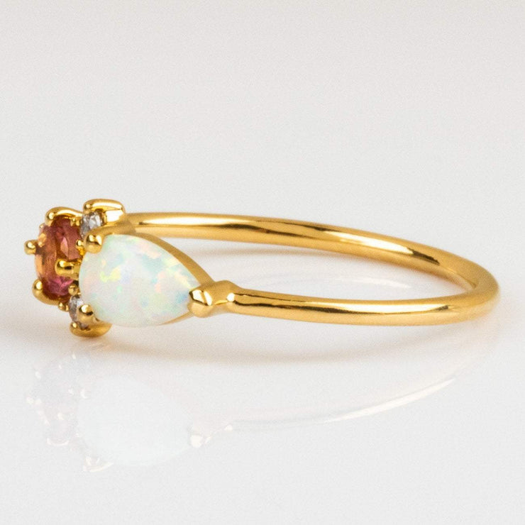 Local Eclectic Natural Pink Quartz, Opal and Cubic Zirconia Gemstone 14K Yellow Gold Plated Ring