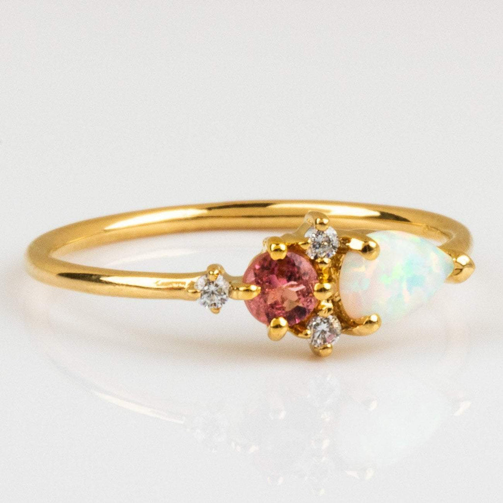 Local Eclectic Natural Pink Quartz, Opal and Cubic Zirconia stone 14K Yellow Gold Plated Ring