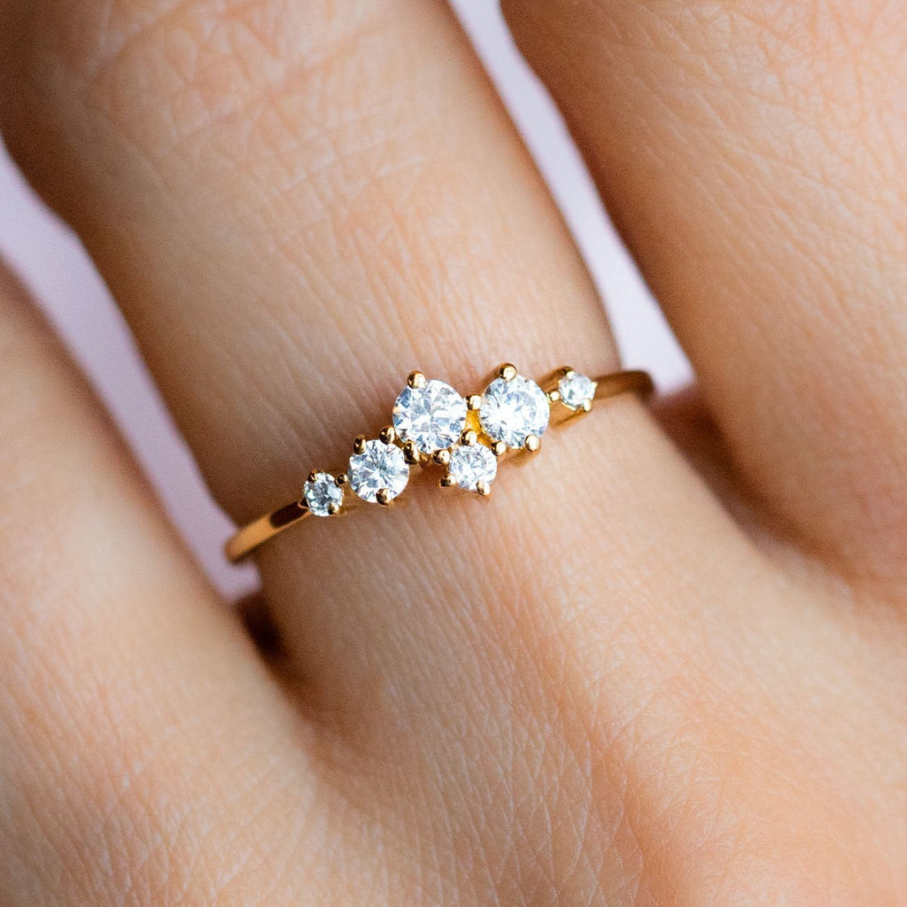 Local Eclectic Cubic Zirconia Stone Cluster 14K Yellow Gold Plated Ring