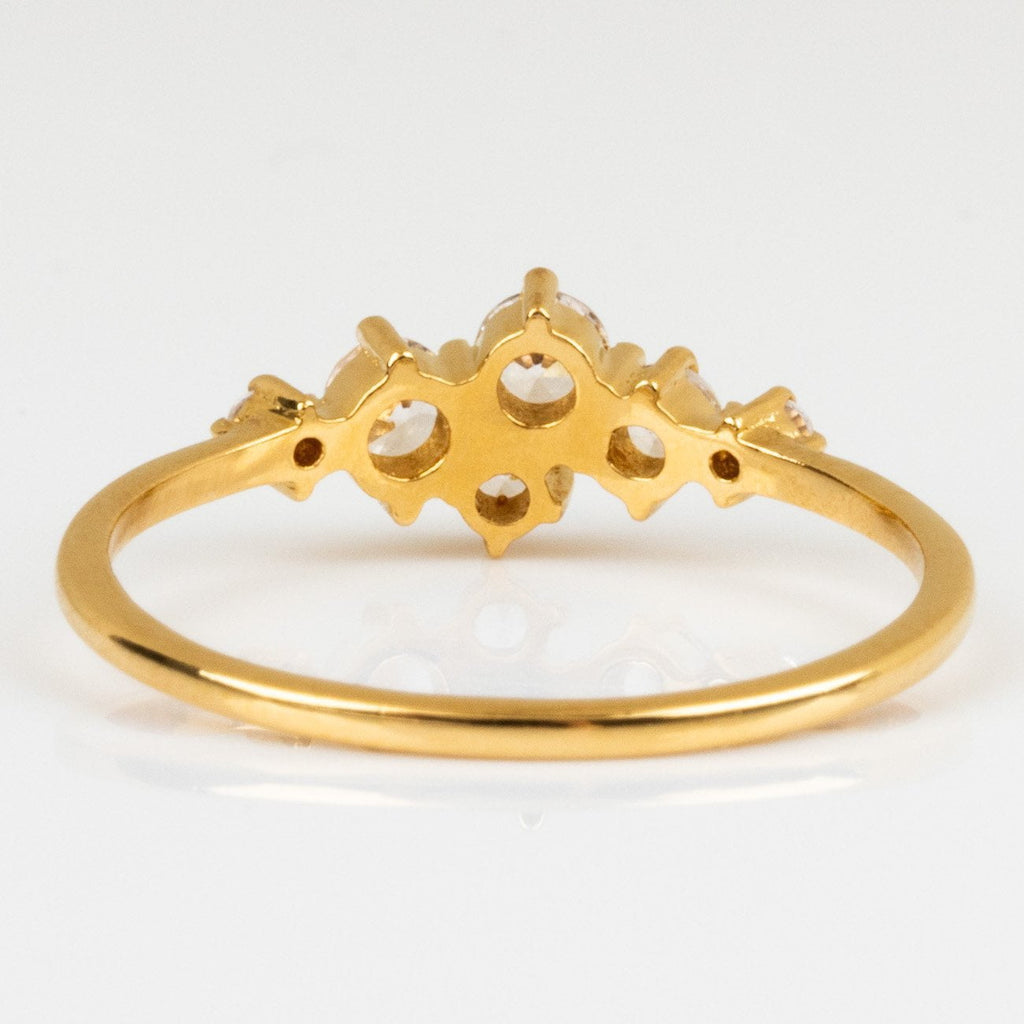 Local Eclectic Cubic Zirconia Cluster 14K Yellow Gold Plated Ring