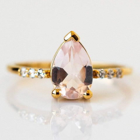 Natural Pink Quartz Cubic Zirconia 14K Yellow Gold Plated Ring