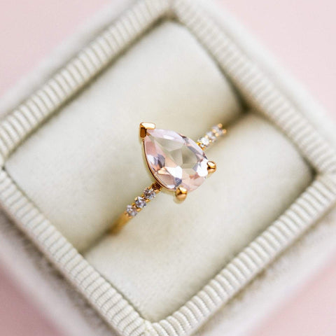 Local Eclectic Natural Pink Quartz Cubic Zirconia Stone 14K Yellow Gold Plated Ring