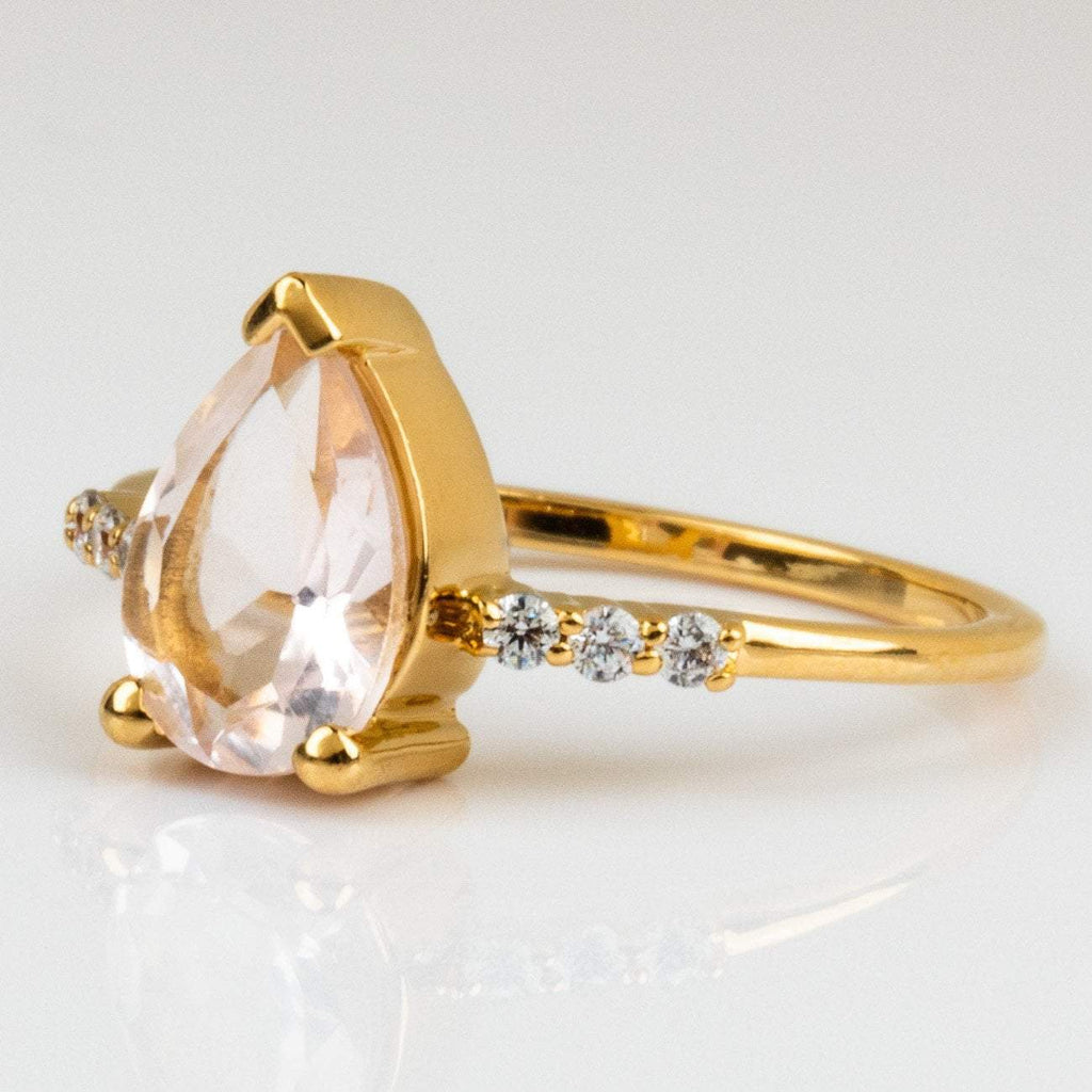 Local Eclectic Natural Pink Quartz Cubic Zirconia 14K Yellow Gold Plated Ring