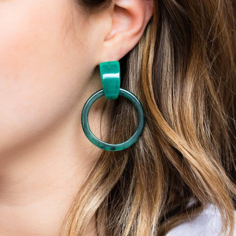 Milly Hoops in Jade - earrings - Casa Clara local eclectic