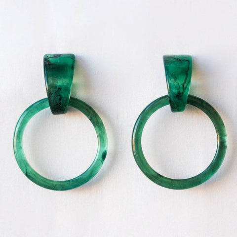 Acetate Hoops Jade Green Earrings